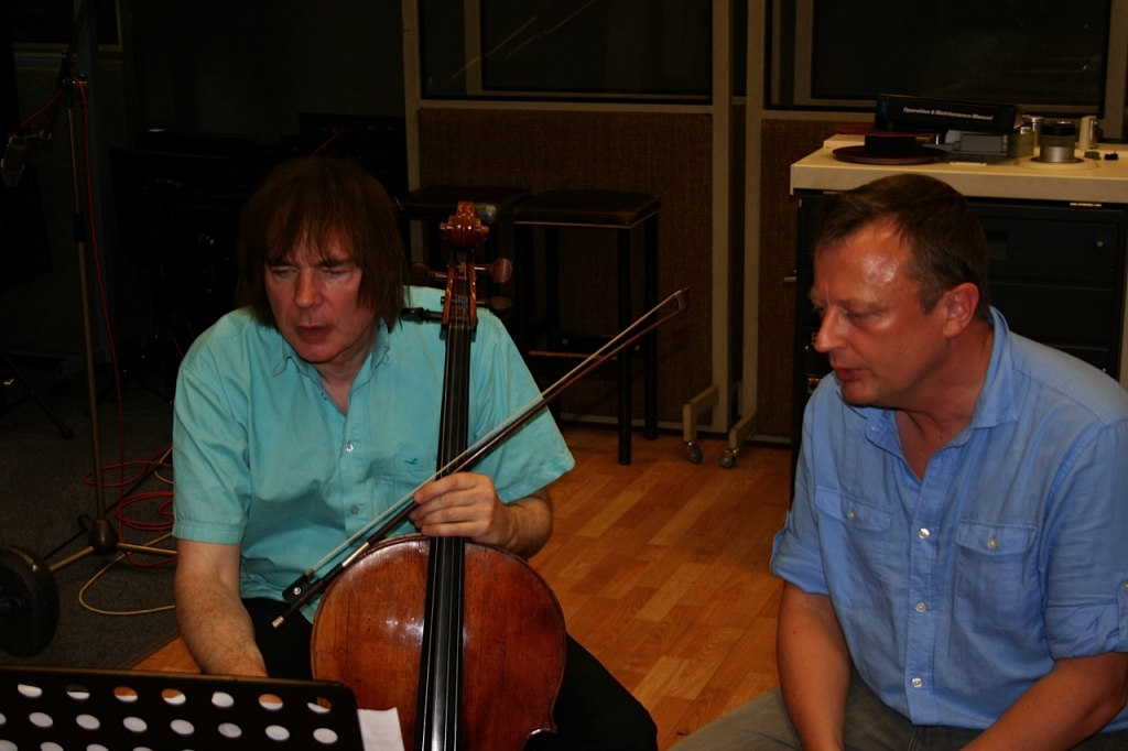Julian Lloyd Webber (cellist) and Patrick recording Gloriette
